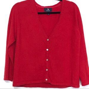 Lands End 100% cashmere v neck cardigan XLarge